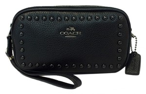 Coach 53450 Lacquered Pebbled Leather Rivets Cross Body Bag
