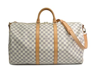 Louis Vuitton Damier Azur Keepall White Travel Bag