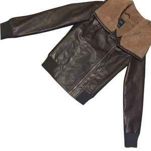 OBEY Faux Faux Leather Moto Brown Leather Jacket