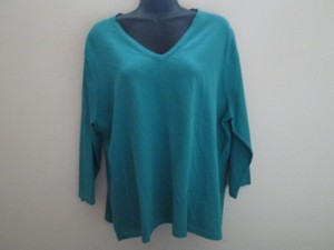 Lands' End V-neck Stretchy Knit Spring Plus Size Top Teal