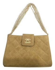 Chanel Chanel Camel Yellow Suede Quilted Small Handbag w/ Multiple Gold Chain