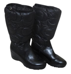 Coach Water-resistant Rubber Nylon Wedge Black Boots