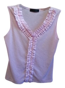 Prada Sleeveless Ruffle Top Pink