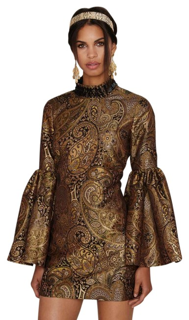 Item - Gold Go For Baroque Bell Sleeve Shift Short Night Out Dress Size 4 (S)