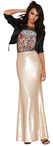 Nasty Gal New Years Eve Party Vegas Maxi Skirt Rose Gold