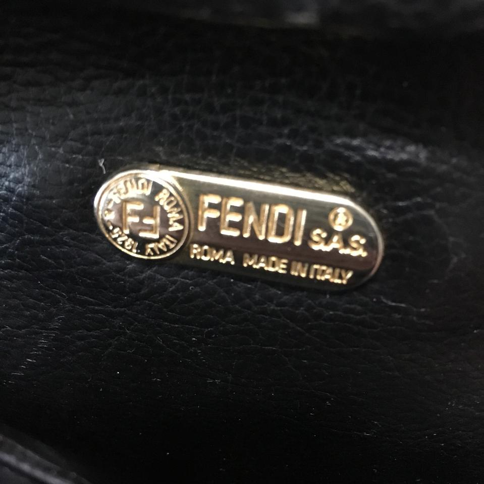 4ed867db080b Fendi Roma Italy 1925- A00094 Navy Brown Coated Canvas and Leather Shoulder  Bag - Tradesy