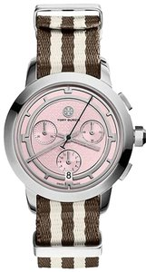 Tory Burch $500 NWT Stripe/stainless Steel/pink Chronograph WATCH TRB1019