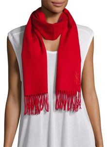 Saint Laurent YSL Yves Saint Laurent Red Wool & Cashmere Scarf