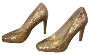 A.B.S. by Allen Schwartz Glitter Rose Gold Square Toe Formal Pumps