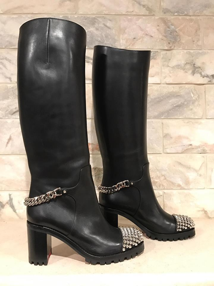 ba5505fb7f Christian Louboutin Black Napaleona 70 Spike Chain Knee Heel 37  Boots/Booties