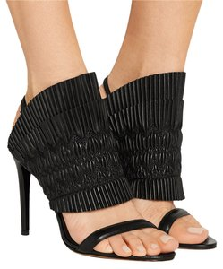 Tabitha Simmons Leather Night Out Date Night Ruched Black Sandals