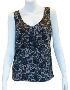 Ann Taylor Black Lace Print Silky Sheen Top