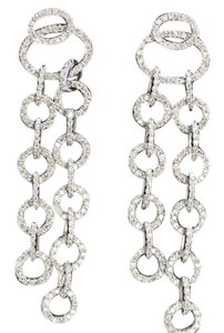 Dignity Jewels 18K White Gold And Diamond Dangling Earring Round Shape Diamond-3.02ct