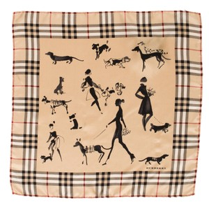 Burberry Black, beige, red Burberry Nova check plaid dog print silk scarf