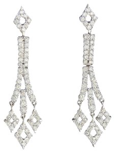 Dignity Jewels 18K White Gold And Diamond Dangling Earring Round Shape Diamond-2.35ct