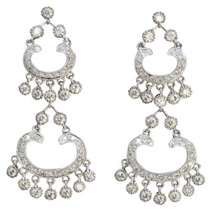 Dignity Jewels 18K White Gold And Diamond Dangling Earring Round Shape Diamond-1.84ct