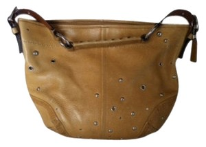 Coach Pebbled Leather Studded With Grommets Braided Leather Shoulder Strap Nickel Hardware Hobo Bag