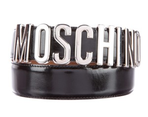 Moschino Black leather Moschino silver tone letter charms belt M