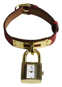 Hermès Red Band Gold Tone Kelly Watch
