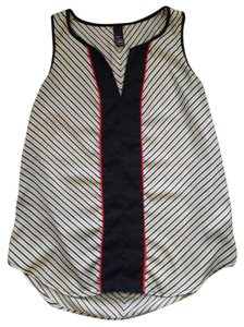 Gap V-neck Sleeveless Color-blocking Striped Top Navy/White