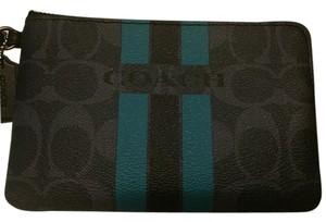 Coach Pvc Wristlet in Denim/Turquoise