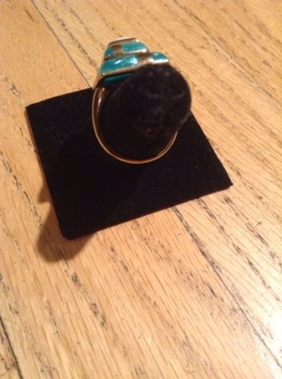Kenneth Jay Lane Turquoise And White Agate Ring