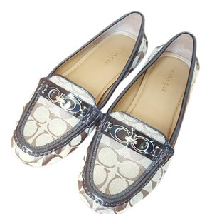 Coach Monogram Patent Gold Hardware Brown and Tan Flats