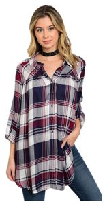 Other Plaid Boyfriend Button Up Size Relaxed Fit Button Down Shirt Navy and Plum