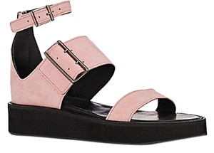 Helmut Lang Leather Suede Festival Flat Form Pink Sandals