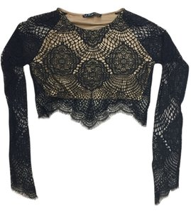 For Love & Lemons Top Black & Tan
