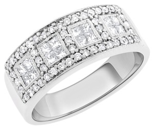 Other 1.00 Carat Natural Diamond Princess & Round Band Ring In Solid 14k Whi