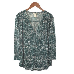 H&M V-neck Print Floral Polyester Top GREEN/ WHITE