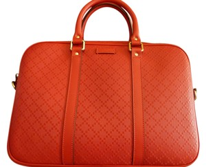 Gucci $1950 Men's Red Diamante Leather Briefcase with Handles and Strap