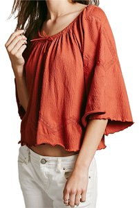 Free People Eyelet Festival Classic Top Red