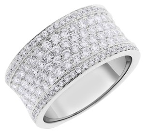 1.98 Carat Natural Diamond Micro Pave Wide Band In Solid 18k White