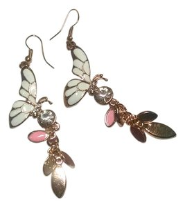 Other New Butterfly Dangle Earrings Gold Pink White Cubic Zirconia Crystals 3 Inch Dangle J7 Summersale