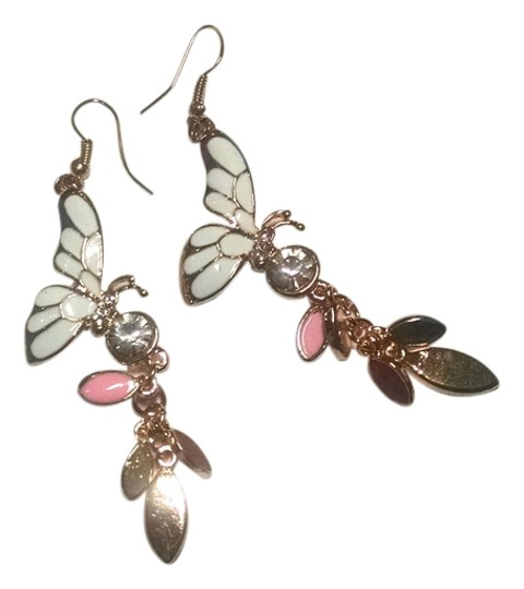 Other New Butterfly Dangle Earrings Gold Pink White Cubic Zirconia J7