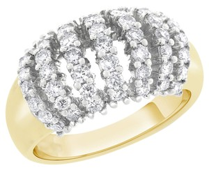 1.00 Carat Natural Diamond Dome Split Pillow Ring In Solid 14k Yellow