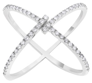 Other 0.36 Carat Natural Diamond Crossover Unique X Ring In Solid 14k White