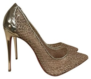 Christian Louboutin Follies Lace Stiletto Mesh gold Pumps