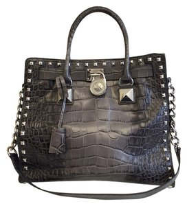 Michael Kors Hamilton Croc-embossed Tote in Grey