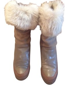 Charles Jourdan Leather Fur Lined Vintage Tan Boots