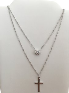 Other Sterling Silver 925 Two Layers Cubic Zirconia and Cross Necklace