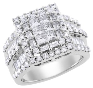 Other 3.00 Carat Natural Diamond Huge Square Fashion Cocktail Ring In Solid