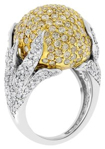 Other 4.25 Carat Natural Diamond Round Dome Cocktail Ring In Solid Yellow/Wh