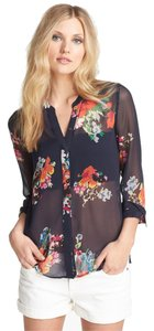Joie Blue Silk Floral Longsleeve Button Down Shirt Navy