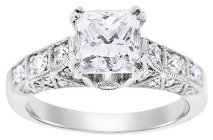 2.46 Carat Natural Diamond Princess Cut Unique Engagement Ring 18k