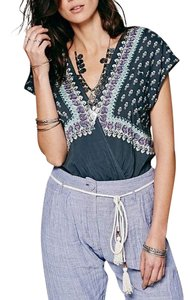 Free People Eyelet Festival Classic Banded Elastic Cropped V Neck Top Gray, Blue Mix