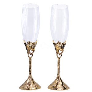 Gold Hearts Wedding Toasting Flutes/Champagne Glasses - 3001ga