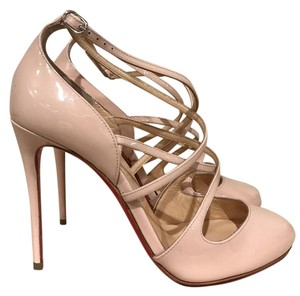 Christian Louboutin Soustelissimo Patent Stiletto Strappy Ankle Strap pink Pumps